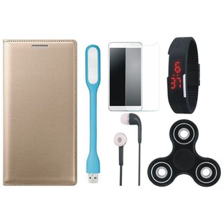 Oppo F3 Premium Stylish Leather Cover with Free Spinner, Digital LED Watch, Tempered Glass, LED Light and Earphones by Vivacious
