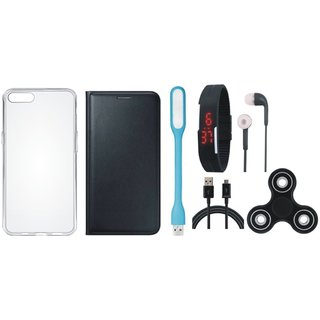 Oppo F3 Cover with Spinner, Silicon Back Cover, Digital Watch, Earphones, USB LED Light and USB Cable