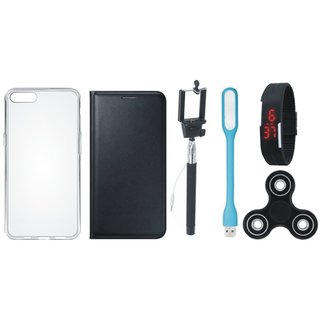 Oppo F3 Premium Leather Cover with Spinner, Silicon Back Cover, Selfie Stick, Digtal Watch and USB LED Light