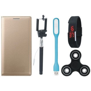 Oppo F3 Sleek Leather Cover with Spinner, Selfie Stick, Digtal Watch and USB LED Light