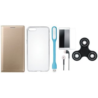 Oppo F3 Stylish Leather Cover with Spinner, Silicon Back Cover, Tempered Glass, Earphones and USB LED Light by Vivacious