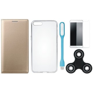 Oppo F3 Premium Leather Cover with Spinner, Silicon Back Cover, Tempered Glas and USB LED Light by Vivacious