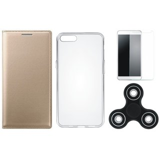 Oppo F3 Premium Leather Case with Spinner, Silicon Back Cover, Tempered Glass