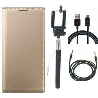 Oppo F3 Flip Cover with Selfie Stick, USB Cable and AUX Cable by Vivacious