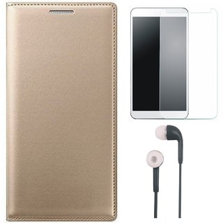 Oppo F3 Stylish Leather Flip Cover with Tempered Glass and Earphones