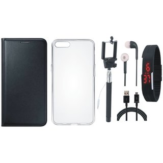 Oppo F3 Leather Flip Cover with Silicon Back Cover, Selfie Stick, Digtal Watch, Earphones and USB Cable