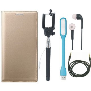 Oppo F3 Premium Quality Leather Cover with Selfie Stick, Earphones, USB LED Light and AUX Cable by Vivacious