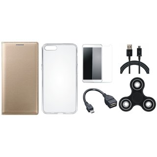 Oppo F3 Premium Leather Case with Spinner, Silicon Back Cover, Tempered Glass, OTG Cable and USB Cable
