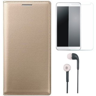 Oppo F3 Stylish Leather Flip Cover with Earphones and Tempered Glass