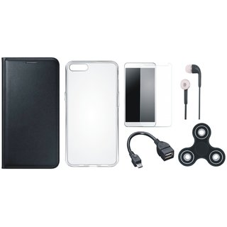 Lenovo K8 Sleek Leather Cover with Spinner, Silicon Back Cover, Tempered Glass, Earphones and OTG Cable by Vivacious