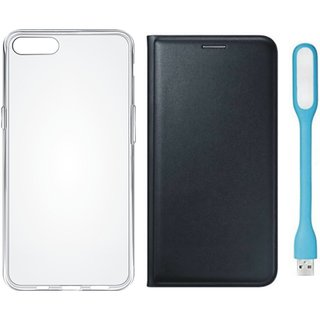Vivo Y53 Stylish Leather Flip Cover with Silicon Back Cover, USB LED Light by Vivacious