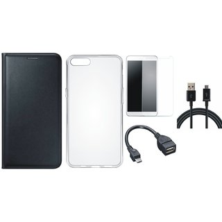 Vivo Y55 Leather Flip Cover with Silicon Back Cover, Tempered Glass, OTG Cable and USB Cable