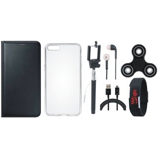 Oppo F3 Plus Premium Leather Case with Spinner, Silicon Back Cover, Selfie Stick, Digtal Watch, Earphones and USB Cable by Vivacious