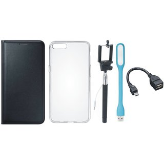 Vivo Y55 Leather Flip Cover with Silicon Back Cover, Selfie Stick, LED Light and OTG Cable