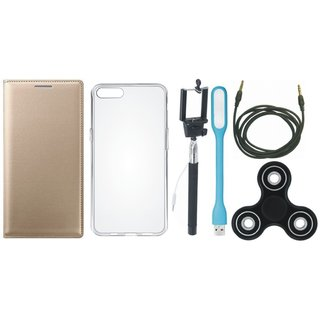 Oppo F3 Plus Cover with Spinner, Silicon Back Cover, Selfie Stick, USB LED Light and AUX Cable by Vivacious