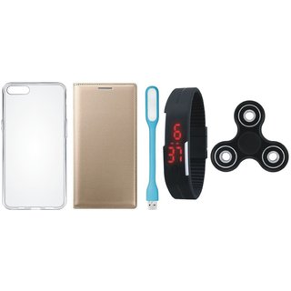 Vivo Y55 Stylish Leather Cover with Spinner, Silicon Back Cover, Digital Watch and USB LED Light by Vivacious