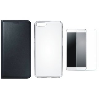 Vivo V7 Plus Leather Flip Cover with Silicon Back Cover, Tempered Glass