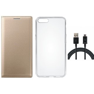 Vivo Y55 Stylish Leather Flip Cover with Silicon Back Cover, USB Cable