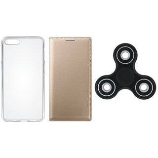 Vivo Y55 Sleek Leather Cover with Spinner, Silicon Back Cover