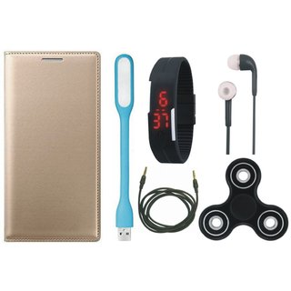 Lenovo K8 Note Premium Leather Cover with Spinner, Digital Watch, Earphones, USB LED Light and AUX Cable by Vivacious