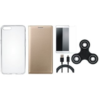 Vivo Y55s Premium Leather Case with Spinner, Silicon Back Cover, Tempered Glass and USB Cable