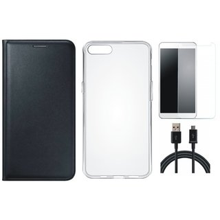 Lenovo K8 Note Stylish Leather Flip Cover with Silicon Back Cover, Tempered Glass and USB Cable by Vivacious