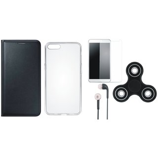Vivo Y55s Cover with Spinner, Silicon Back Cover, Tempered Glass and Earphones