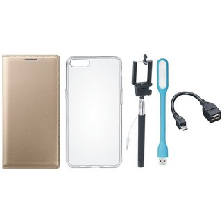 Lenovo K8 Note Leather Flip Cover with Silicon Back Cover, Selfie Stick, LED Light and OTG Cable by Vivacious