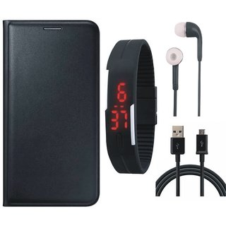 Vivo Y55s Stylish Leather Flip Cover with Digital Watch, Earphones and USB Cable by Vivacious