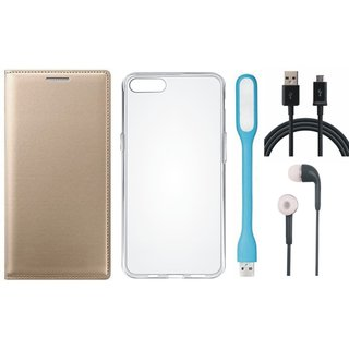 Vivo V7 Plus Leather Flip Cover with Silicon Back Cover, Earphones, USB LED Light and USB Cable by Vivacious