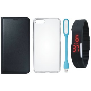 Vivo V7 Plus Premium Quality Leather Cover with Silicon Back Cover, Digital Watch and USB LED Light