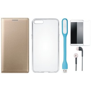 Vivo V7 Plus Leather Flip Cover with Silicon Back Cover, Tempered Glass, Earphones and USB LED Light by Vivacious