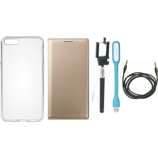 Vivo Y55s Leather Flip Cover with Silicon Back Cover, Selfie Stick, USB LED Light and AUX Cable by Vivacious