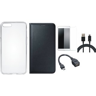 Lenovo K8 Note Stylish Leather Flip Cover with Silicon Back Cover, Tempered Glass, OTG Cable and USB Cable by Vivacious