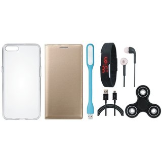Vivo V7 Plus Sleek Leather Cover with Spinner, Silicon Back Cover, Digital Watch, Earphones, USB LED Light and USB Cable