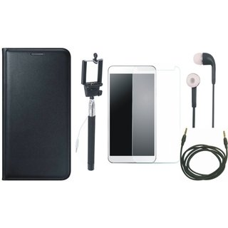 Vivo Y55s Stylish Leather Flip Cover with Free Selfie Stick, Tempered Glass, Earphones and AUX Cable by Vivacious