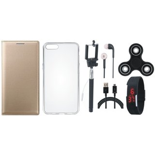 Oppo A37 Premium Leather Case with Spinner, Silicon Back Cover, Selfie Stick, Digtal Watch, Earphones and USB Cable