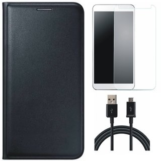 Lenovo K8 Plus Flip Cover with Tempered Glass and USB Cable