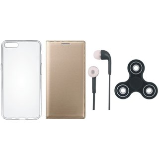 Oppo A37 Sleek Leather Cover with Spinner, Silicon Back Cover and Earphones
