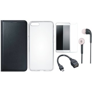 Vivo Y69 Leather Flip Cover with Silicon Back Cover, Tempered Glass, Earphones and OTG Cable