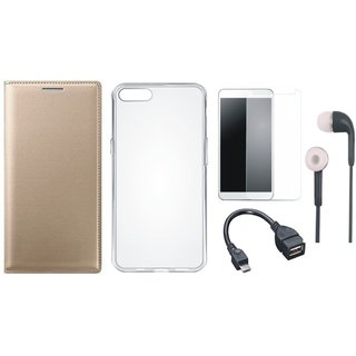 Oppo A37 Stylish Leather Flip Cover with Silicon Back Cover, Tempered Glass, Earphones and OTG Cable
