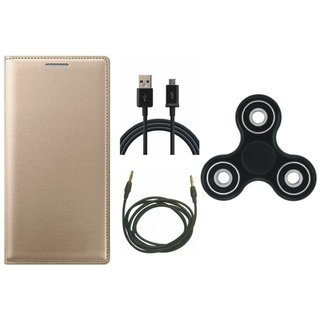 Vivo Y69 Sleek Leather Cover with Spinner, USB Cable and AUX Cable