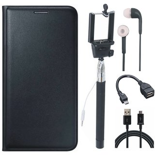 Oppo A37 Stylish Leather Flip Cover with Selfie Stick, Earphones, OTG Cable and USB Cable by Vivacious