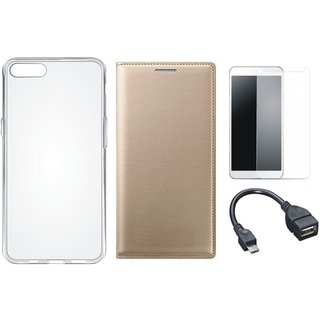 Oppo A37 Stylish Leather Flip Cover with Silicon Back Cover, Tempered Glass and OTG Cable