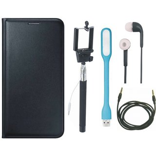 Oppo A37 Stylish Leather Flip Cover with Selfie Stick, Earphones, USB LED Light and AUX Cable by Vivacious