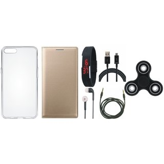 Oppo A37 Sleek Leather Cover with Spinner, Silicon Back Cover, Digital Watch, Earphones, USB Cable and AUX Cable