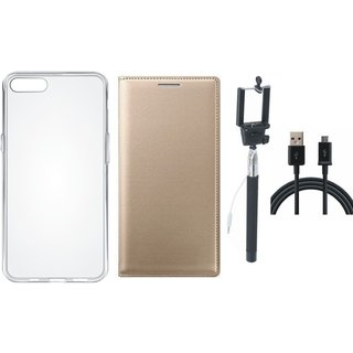 Oppo A37 Leather Flip Cover with Silicon Back Cover, Selfie Stick and USB Cable by Vivacious
