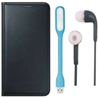 Oppo A37 Leather Flip Cover with Earphones and USB LED Light