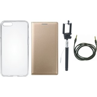 Oppo A37 Stylish Leather Flip Cover with Silicon Back Cover, Selfie Stick and AUX Cable