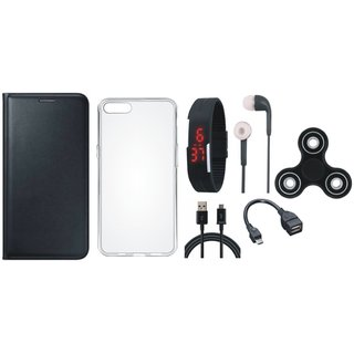 Oppo A37 Premium Leather Cover with Spinner, Silicon Back Cover, Digital Watch, Earphones, OTG Cable and USB Cable